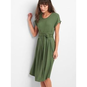 Gap Short Sleeve Tie Front Cotton Dress